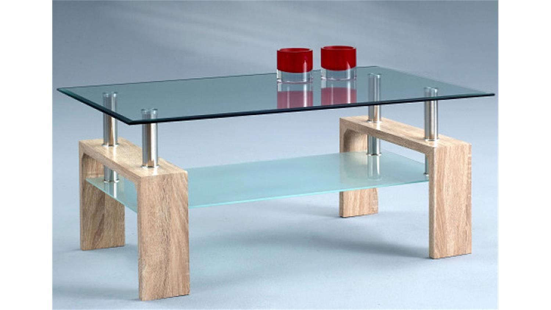 Couchtisch sonoma eiche glas  INTRO 5 Tisch Sonoma Eiche mit Glas und Ablage