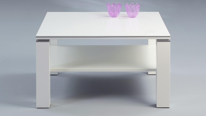 Couchtisch JURI weiß Hochglanz mit Aluminiumstreifen 78×78