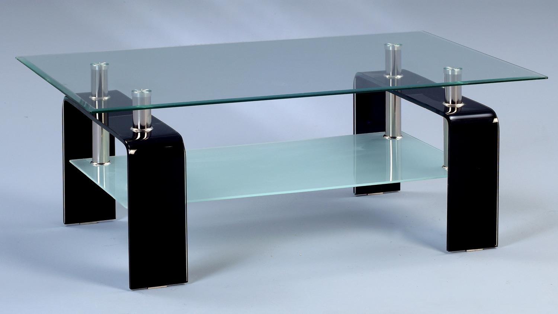 Couchtisch caruso glastisch klar schwarz 100x60 cm for Glastisch schwarz