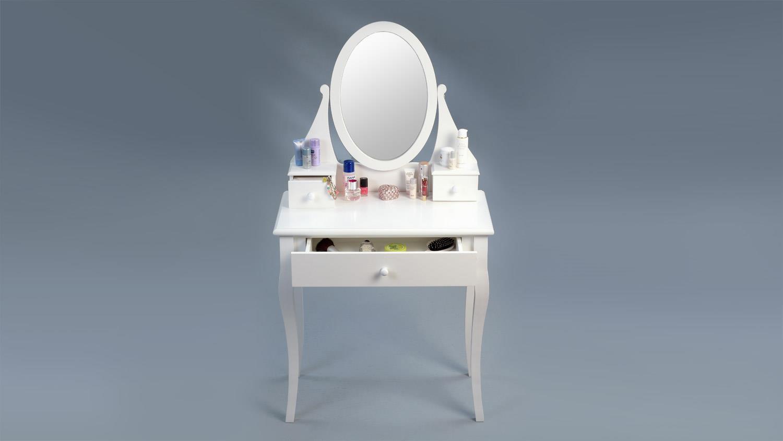 schminktisch magia matt wei lackierte konsole mit spiegel. Black Bedroom Furniture Sets. Home Design Ideas