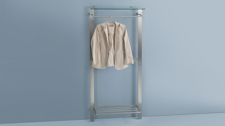garderobe sabana in edelstahloptik mit schuhablage und glas. Black Bedroom Furniture Sets. Home Design Ideas