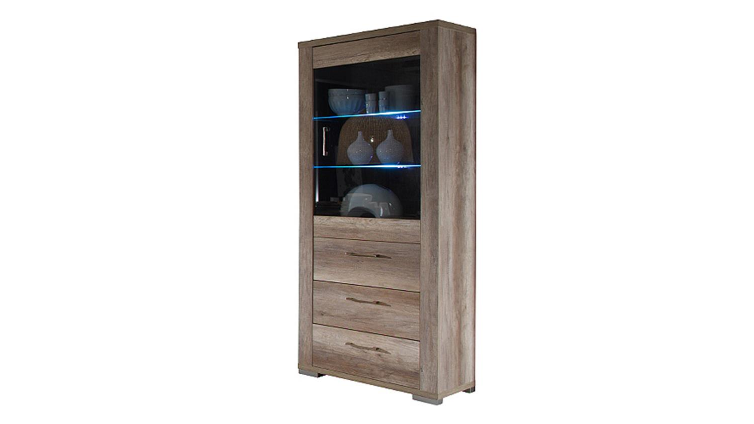 Vitrine matti highboard schrank in wildeiche tr ffel dekor for Schrank wildeiche