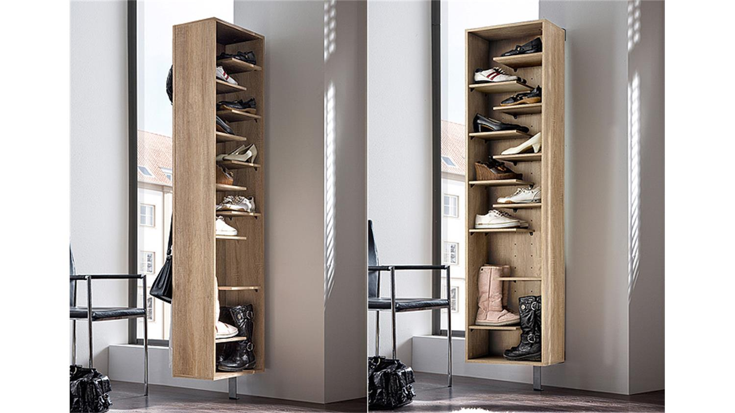 schuhschrank woody i sonoma eiche drehbar. Black Bedroom Furniture Sets. Home Design Ideas