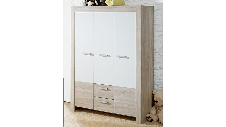 kleiderschrank ben sonoma eiche s gerau und wei matt. Black Bedroom Furniture Sets. Home Design Ideas