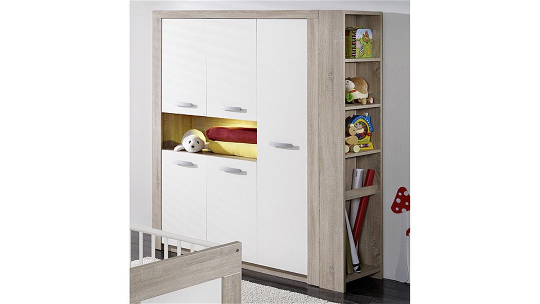 kleiderschrank moritz sonoma eiche s gerau und wei matt. Black Bedroom Furniture Sets. Home Design Ideas