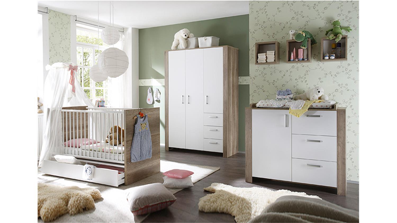 babyzimmer nick wildeiche tr ffel und wei matt. Black Bedroom Furniture Sets. Home Design Ideas