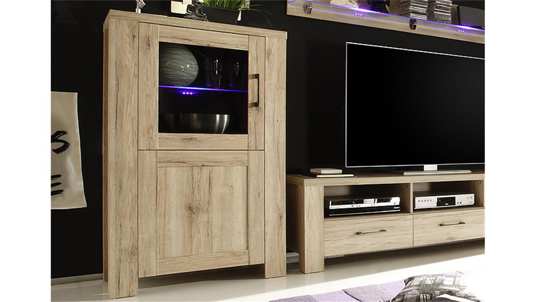 wohnwand lupo anbauwand in san remo eiche dekor vierteilig. Black Bedroom Furniture Sets. Home Design Ideas