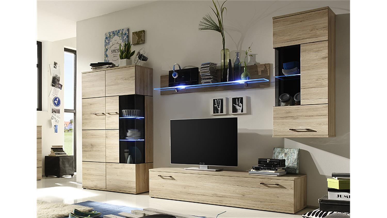 wohnwand olivia anbauwand wohnzimmer in san remo eiche. Black Bedroom Furniture Sets. Home Design Ideas