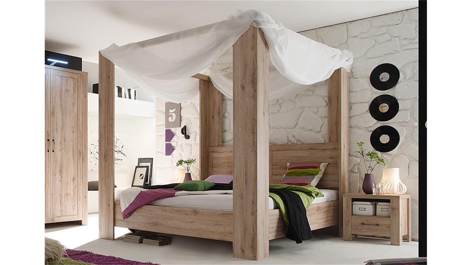 himmelbett lupo san remo eiche 180x200 cm. Black Bedroom Furniture Sets. Home Design Ideas
