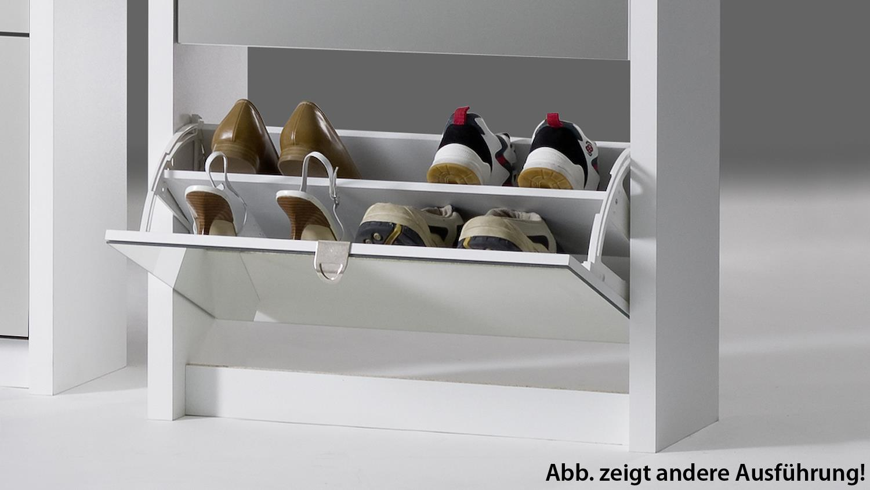 Schuhkipper BIG Eiche sägerau und weiß matt mit 3 Klappen für 18 Paar