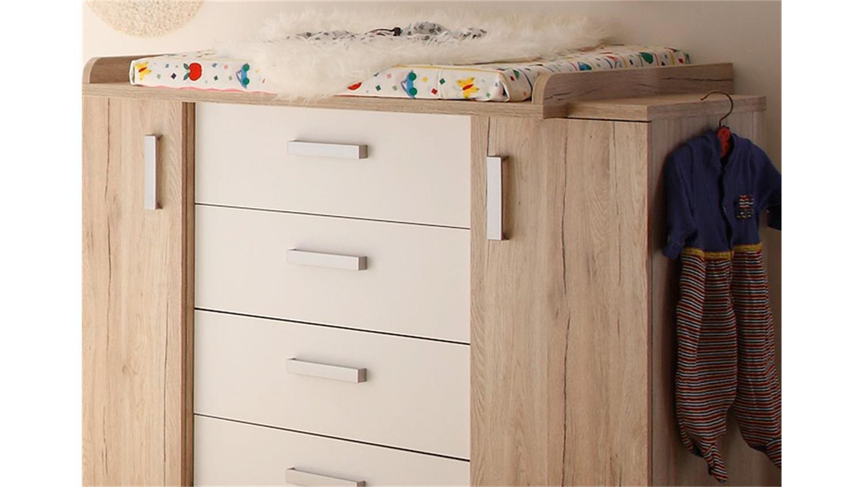 wickelkommode twin san remo eiche und wei. Black Bedroom Furniture Sets. Home Design Ideas
