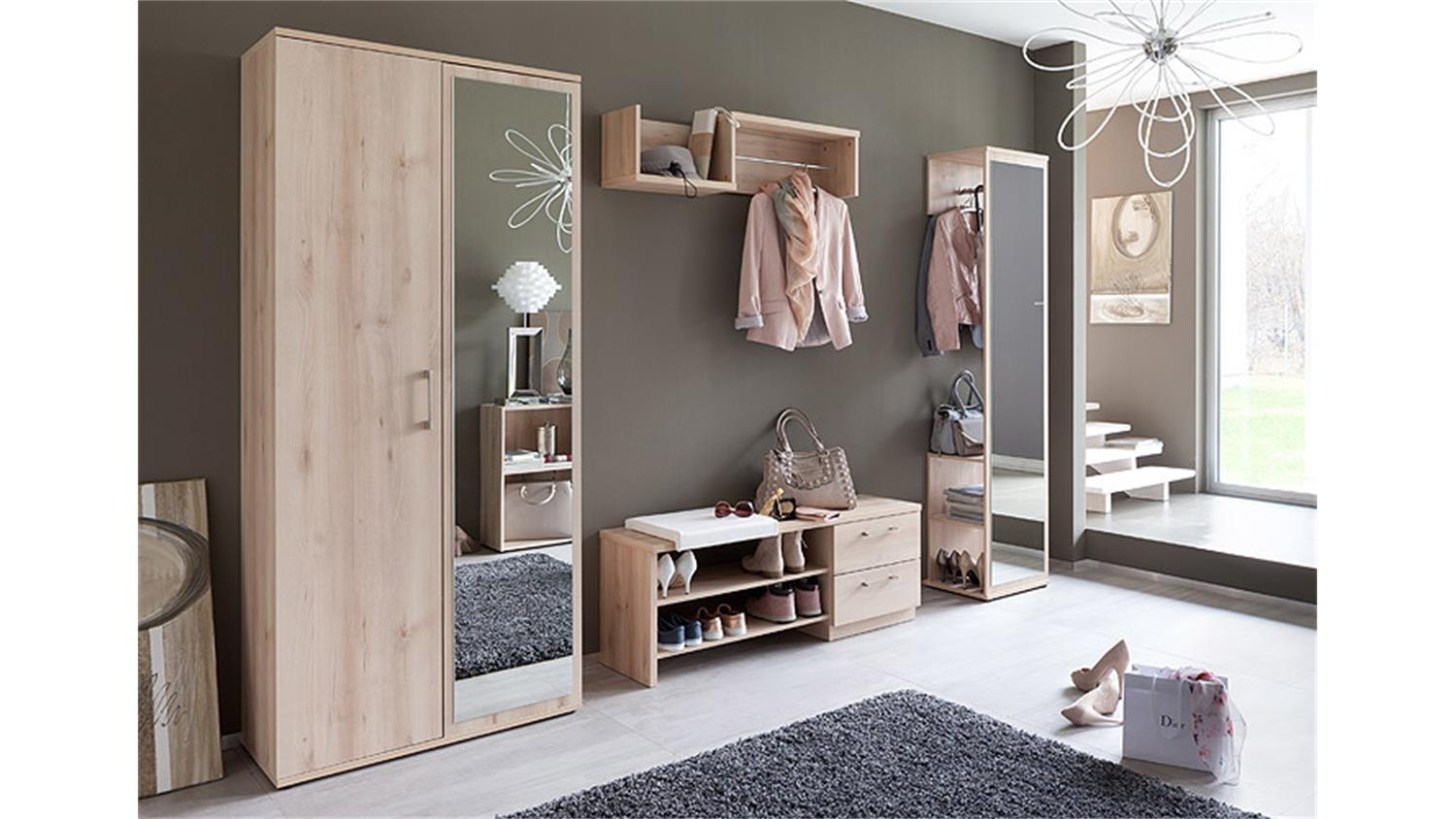 garderobe alfred in edelbuche mit spiegel. Black Bedroom Furniture Sets. Home Design Ideas