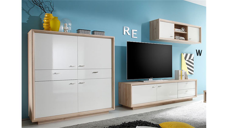 wohnwand 1 sven anbauwand in edelbuche und wei lack. Black Bedroom Furniture Sets. Home Design Ideas