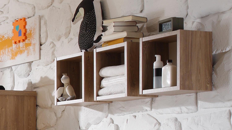 h ngeregale granny wandregal 3 w rfel in stirling oak und wei. Black Bedroom Furniture Sets. Home Design Ideas
