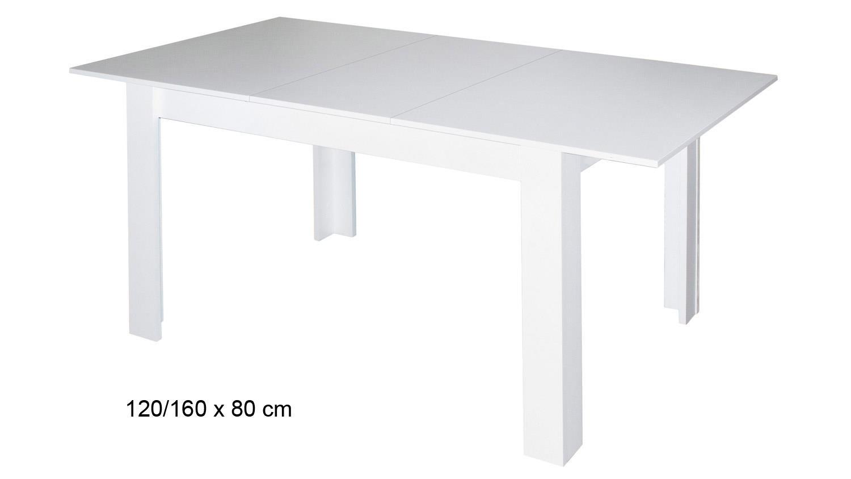Esstisch 100x100 Ausziehbar Weiß : Esstisch BULL Küchentisch in weiß matt ausziehbar 120x80