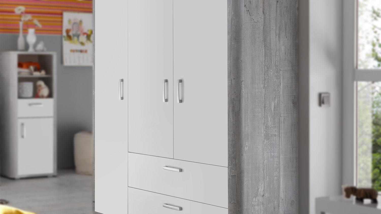 kleiderschrank babyzimmer frieda vintage wood grey wei. Black Bedroom Furniture Sets. Home Design Ideas
