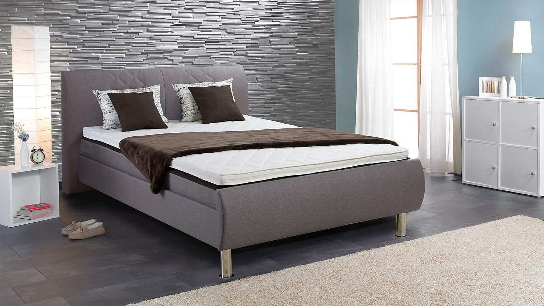boxspringbett teso in stoff hellgrau 140x200 cm. Black Bedroom Furniture Sets. Home Design Ideas
