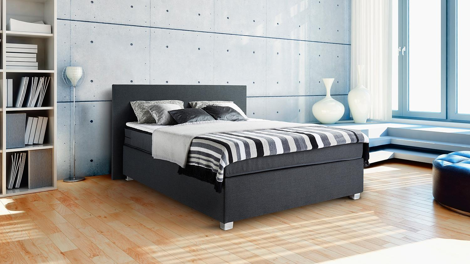 boxspringbett sybille anthrazit inkl topper 140x200 cm. Black Bedroom Furniture Sets. Home Design Ideas