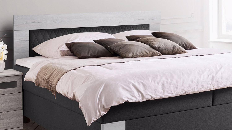 boxspringbett flensburg anthrazit san remo wei 180x200 cm. Black Bedroom Furniture Sets. Home Design Ideas