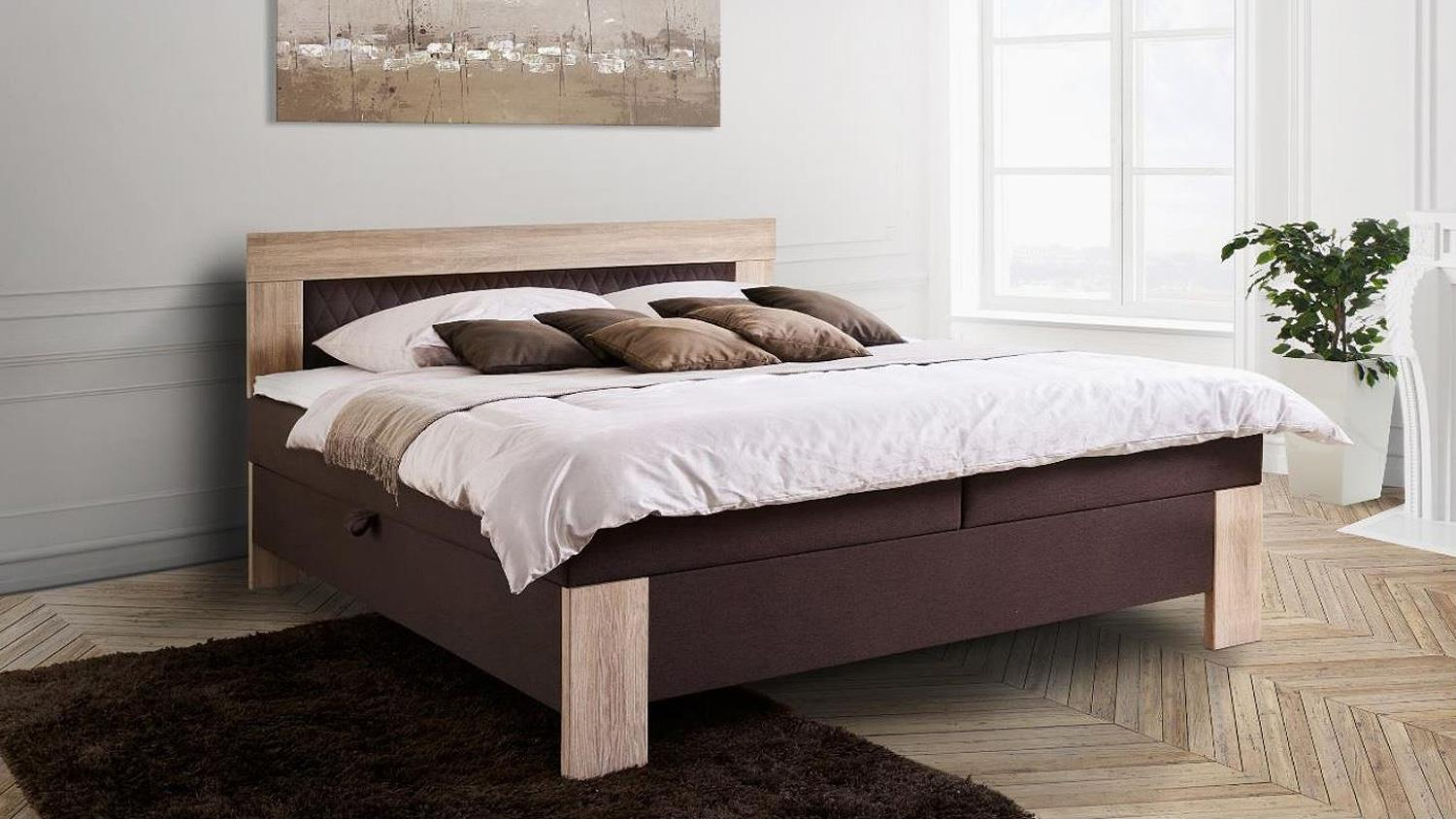 boxspringbett kiel braun und sonoma eiche 180x200 cm. Black Bedroom Furniture Sets. Home Design Ideas