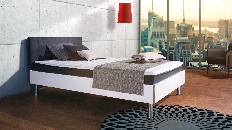 boxbett antox in wei glanz und anthrazit bonell federkern. Black Bedroom Furniture Sets. Home Design Ideas