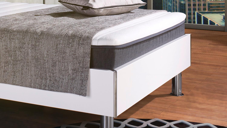 boxbett antox bett wei glanz anthrazit bonell mit topper 140x200 cm. Black Bedroom Furniture Sets. Home Design Ideas