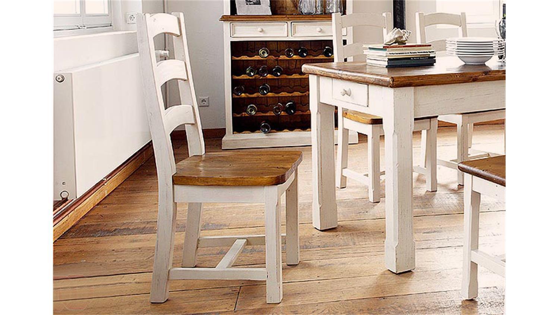 Stuhl Bodde In Kiefer Massiv Weiss Honig Landhausstil