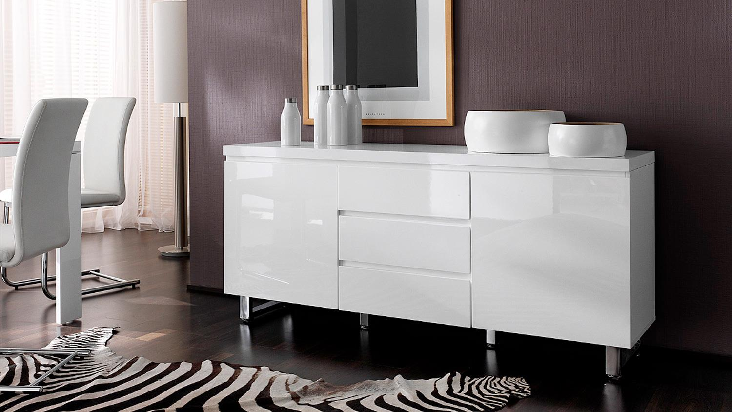 sideboard sydney in wei hochglanz lackiert 2 t rig mit schubk sten. Black Bedroom Furniture Sets. Home Design Ideas