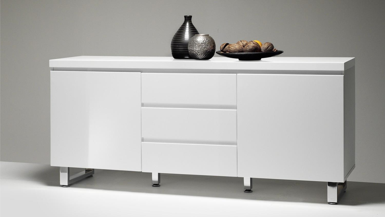 sideboard sydney in wei hochglanz lackiert mit 2 t ren 3 schubk sten. Black Bedroom Furniture Sets. Home Design Ideas