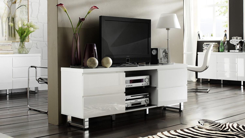 lowboard sydney in wei hochglanz lackiert mit 4 schubk sten. Black Bedroom Furniture Sets. Home Design Ideas