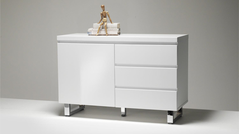 sideboard sydney in wei hochglanz lackiert mit 1 t r 3 schubk sten. Black Bedroom Furniture Sets. Home Design Ideas