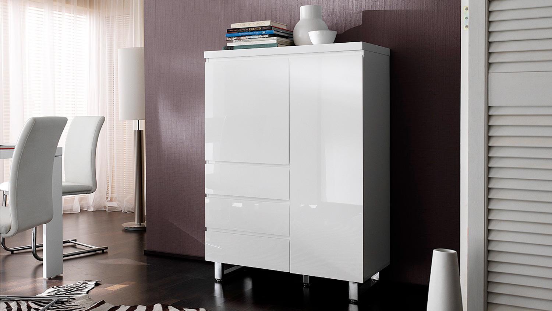 kommode sydney in wei hochglanz lackiert mit 2 t ren 3 schubk sten. Black Bedroom Furniture Sets. Home Design Ideas