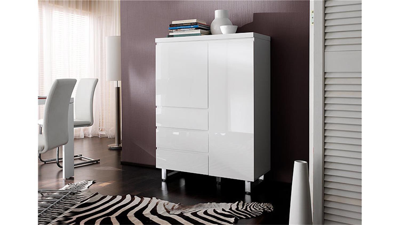 kommode sydney i highboard schrank in wei hochglanzlack. Black Bedroom Furniture Sets. Home Design Ideas