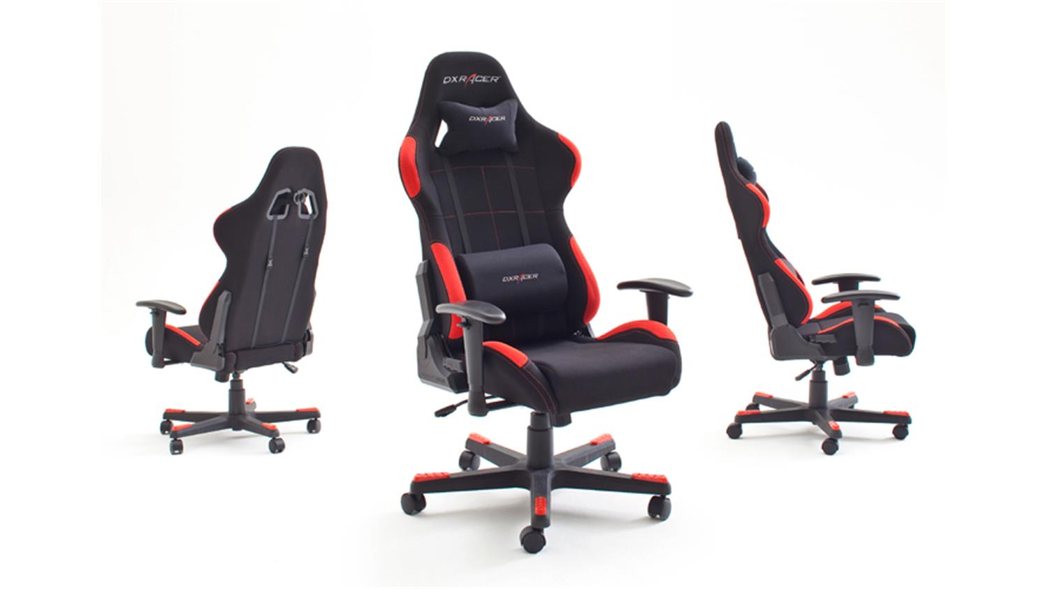 schreibtischstuhl b rostuhl dx racer 1 stoff schwarz rot game chair. Black Bedroom Furniture Sets. Home Design Ideas