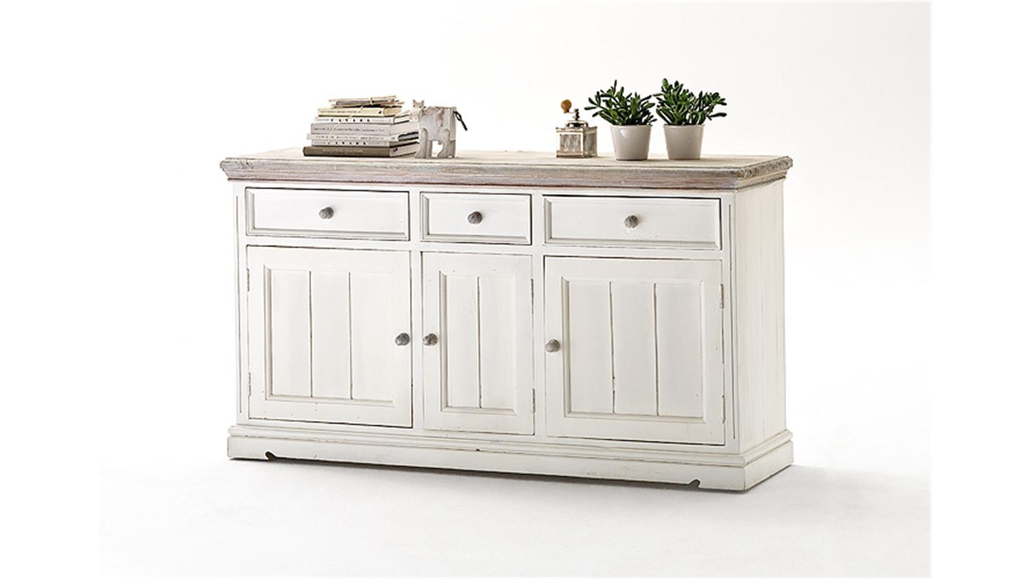 Sideboard 2 Opus Kommode In Kiefer Massiv Weiss Vintage