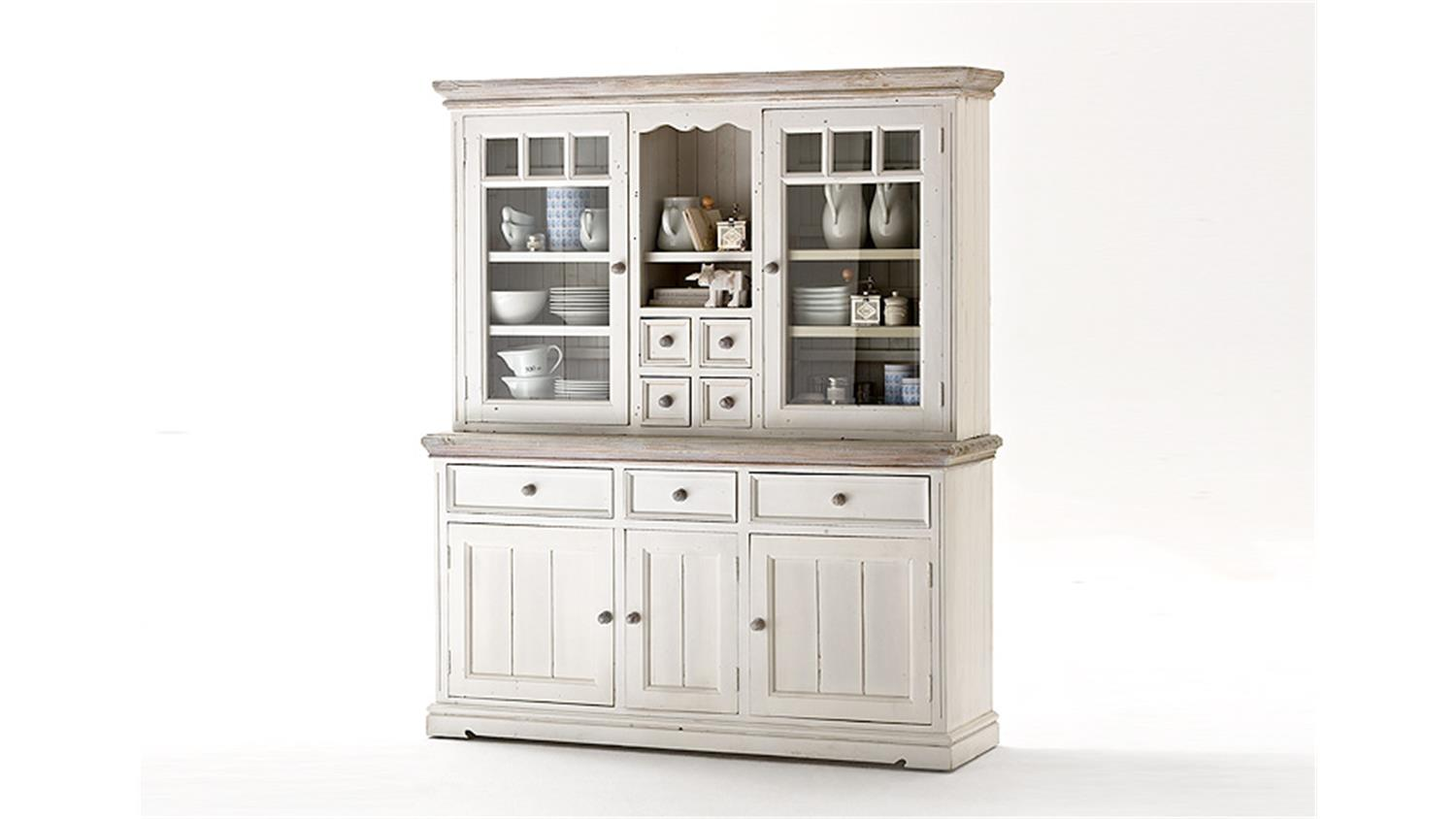 Buffet opus vitrine highboard in kiefer massiv wei vintage for Instore mobel martin