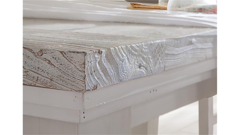 Esstisch massiv ausziehbar vintage  OPUS Tisch Kiefer massiv weiß Vintage 180-220 cm