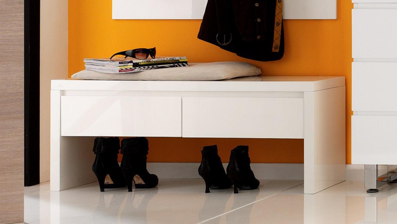 bank sydney sitzbank in wei hochglanz lackiert mit 2 schubk sten. Black Bedroom Furniture Sets. Home Design Ideas