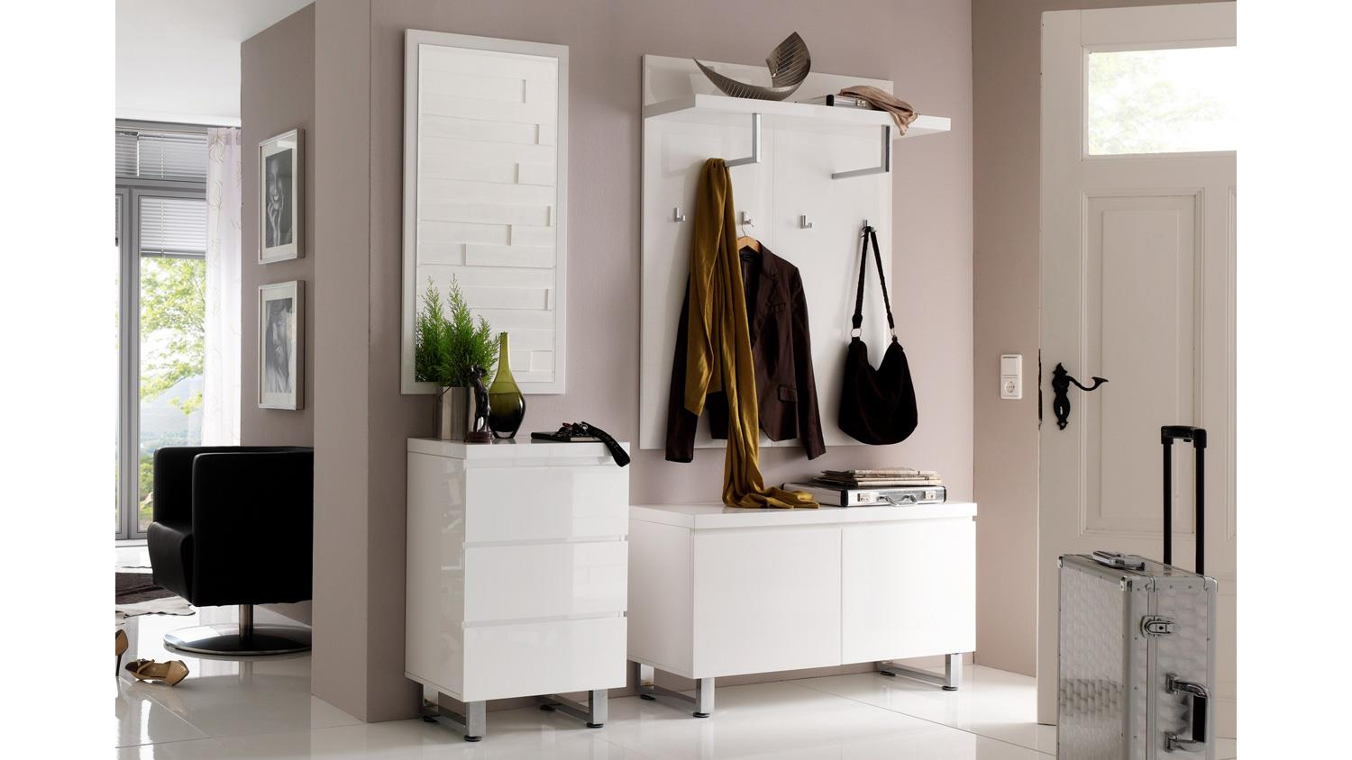 garderobe 1 sydney flurm bel in wei hochglanz lackiert 4 teilig. Black Bedroom Furniture Sets. Home Design Ideas