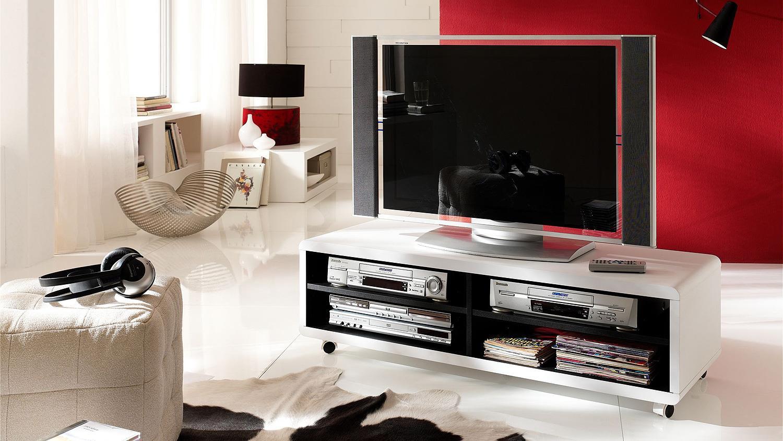 Fernsehschrank weiß  Board JEFF Lowboard Unterschrank Fernsehschrank weiß schwarz 120