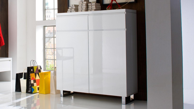 schuhschrank sydney wei hochglanz lackiert mit 2 t ren 2 schubk sten. Black Bedroom Furniture Sets. Home Design Ideas