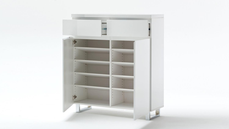 schuhschrank sydney wei hochglanz lackiert mit 2 t ren 2. Black Bedroom Furniture Sets. Home Design Ideas