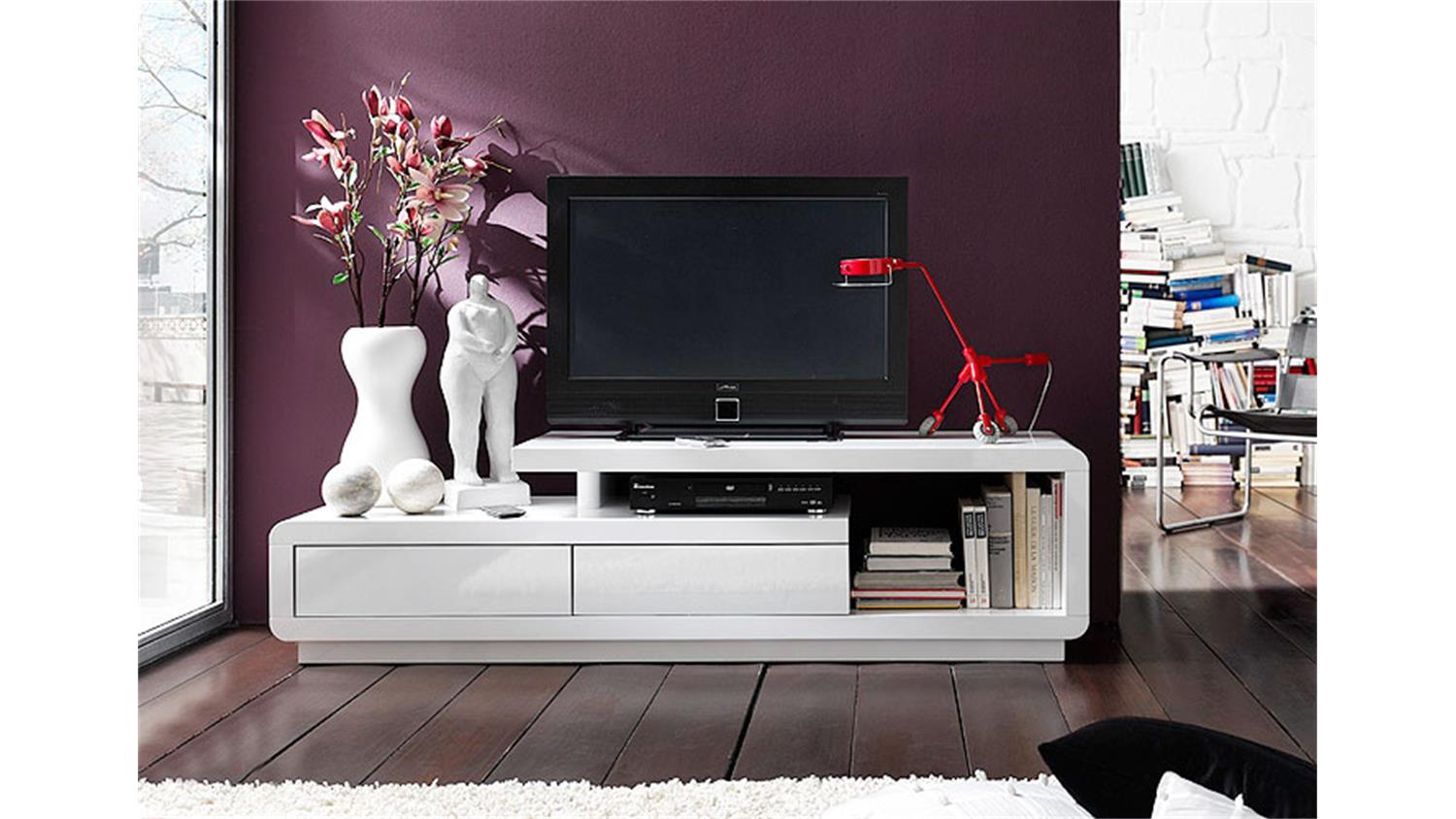 tv board celsor wei lack hochglanz. Black Bedroom Furniture Sets. Home Design Ideas
