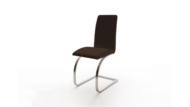 schwingstuhl karmo 4er set lederlook in braun edelstahl. Black Bedroom Furniture Sets. Home Design Ideas