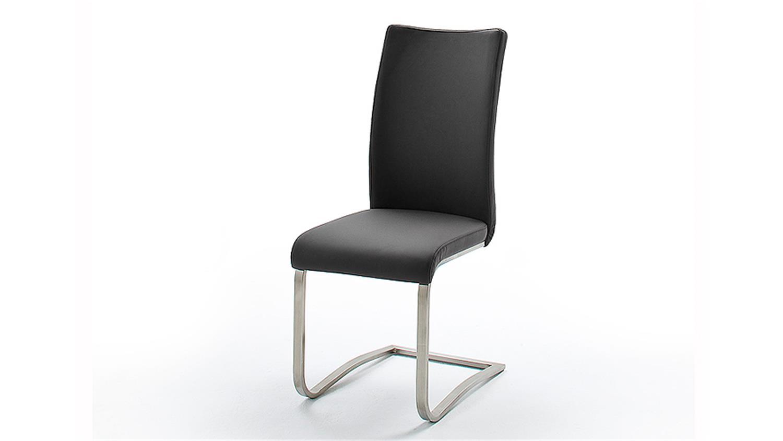 Stuhl arco 4er set in echtleder schwarz und edelstahl for Stuhl schwarz esszimmer