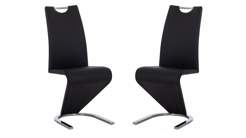 schwingstuhl amado 2er set in schwarz gestell chrom. Black Bedroom Furniture Sets. Home Design Ideas