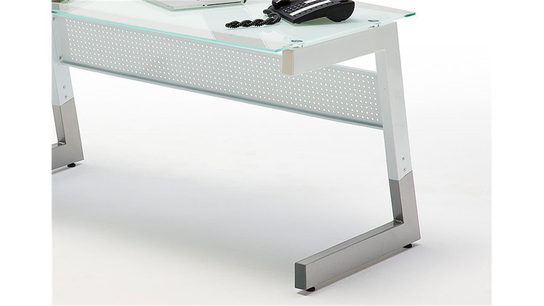 schreibtisch roby glas metall wei 150x80. Black Bedroom Furniture Sets. Home Design Ideas