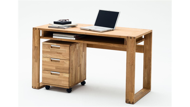 Schreibtisch jasmin asteiche massiv ge lt mit ablage for Schreibtisch shop