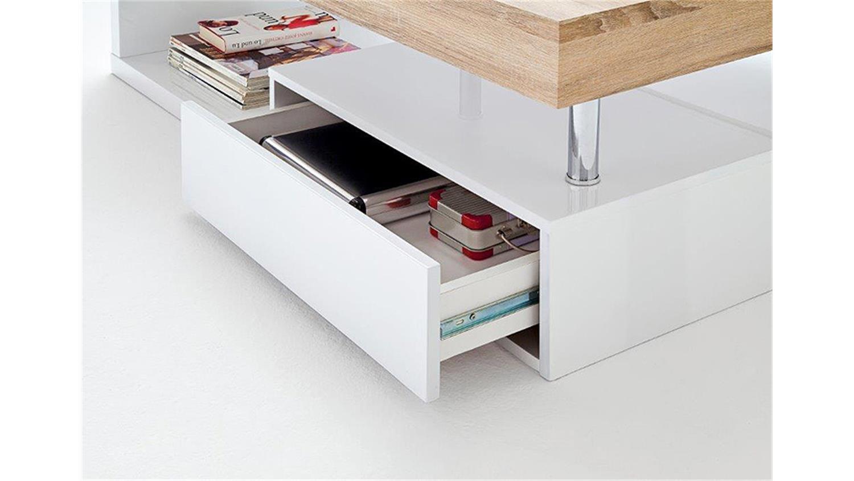 couchtisch hope hochglanz wei lack und sonoma eiche. Black Bedroom Furniture Sets. Home Design Ideas
