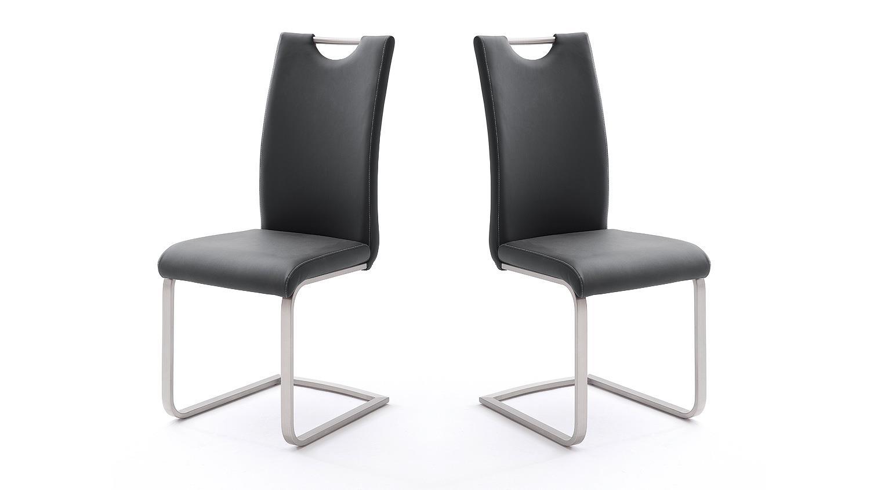 stuhl 4er set paulo esszimmerstuhl in schwarz und edelstahl. Black Bedroom Furniture Sets. Home Design Ideas
